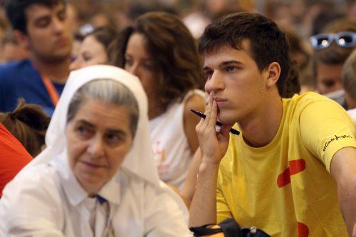 Madrid 17-08-2011 Giornata Mondiale della Gioventu La catechesi di Monsignor Giuseppe Betori nei padiglioni della fiera di Madrid Ifema Foto Agenzia Romano Siciliani