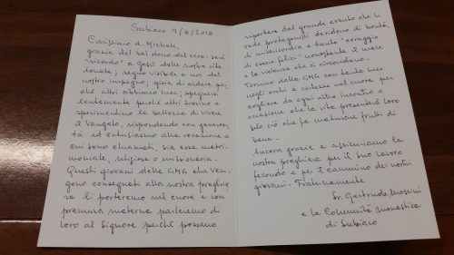 La lettera di Madre Gertrude Moscini